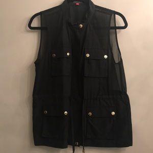 Vince caumuto black chiffon safari jacket